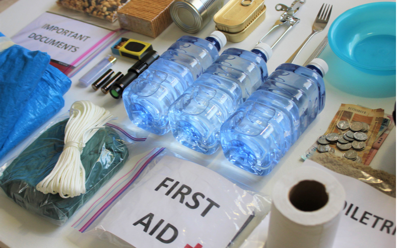 Preparation supplies laid out