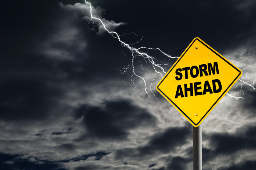 Storm Ahead warning sign for tornado safety
