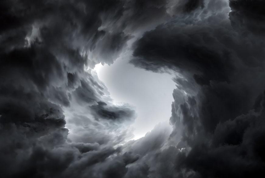 Dark swirling clouds
