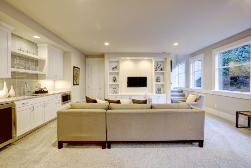 Living room with white decor
